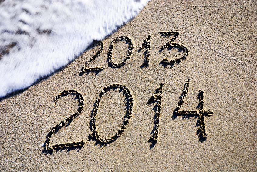 Happy New Year 2014 in Sand