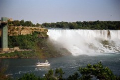 A beautiful shot of the falls. A slight rainbow can be seen in the image.