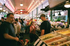 Another ruined shot in the Seattle fish market. The camera was supposed to focus on the woman and child.