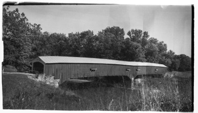 A covered bridge in Parke County, Indiana. The film exhibits some age marks, but I think it adds to the look of the image.