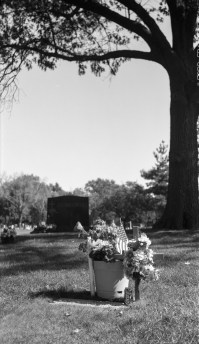 This shot of my grandfather's grave nicely composes the tree over the headstone.