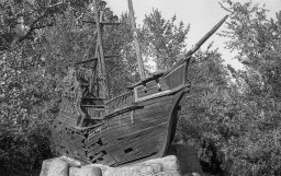 This abandoned ship is actually inside of an abandoned mini golf course by my house.