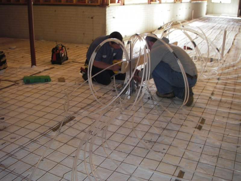 In-Floor Heat Installation From Geothermal Unit