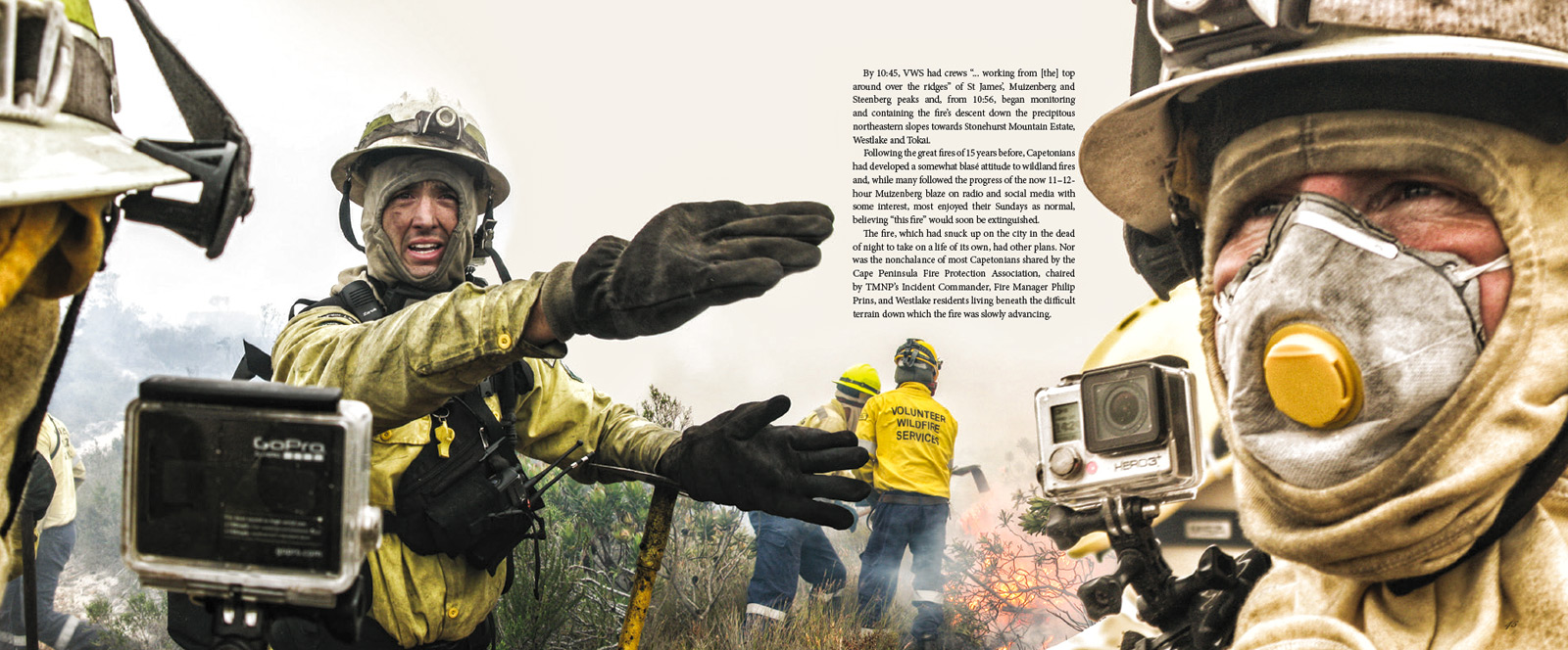 VWS fire crews respond to the March 2015 Muizenberg Fire. From The Cape Aflame – Cape Town's Dance with Fire, November 2015 Photography: John Murray