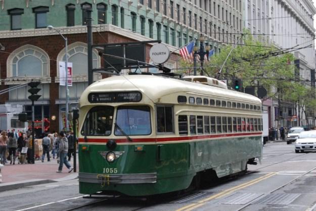 Market Street, San Francisco:  streetcar 1055