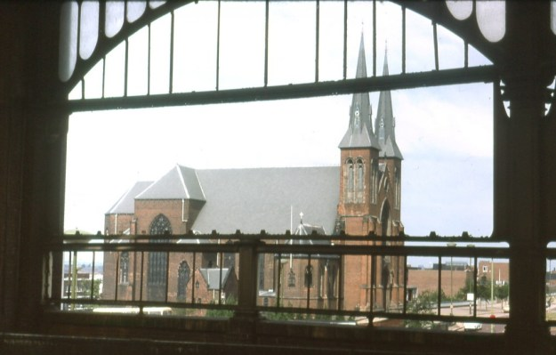 St Chad's Cathedral, Birmingham – viewed from the old Snow Hill Station (1977)