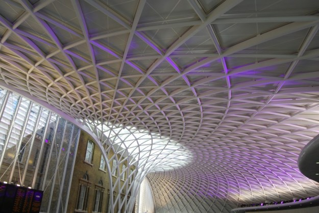 King's Cross Station, London:  departures concourse roof