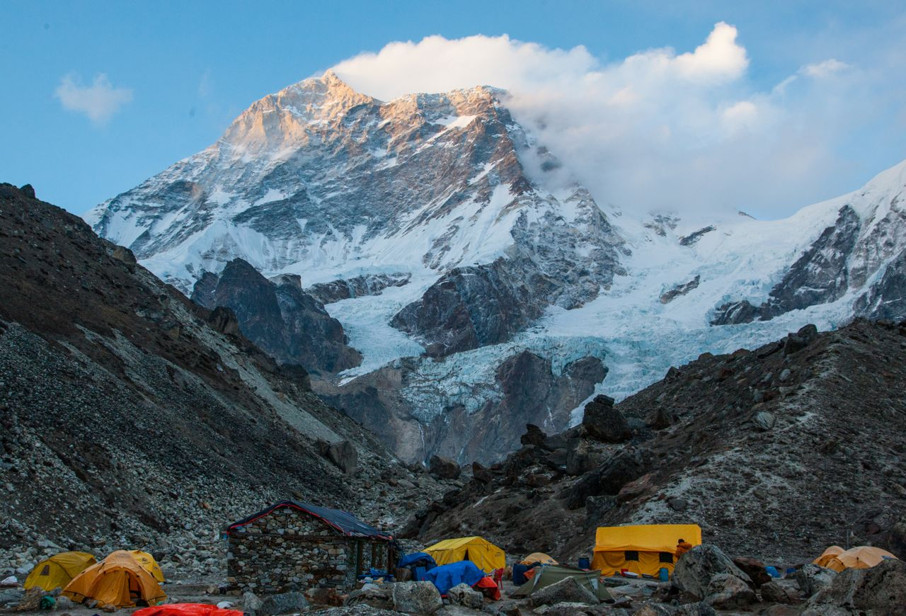 Makalu with base camp in the foreground