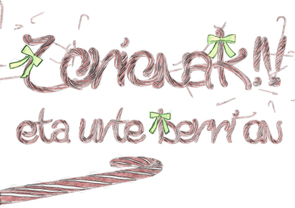 christmas 2016 3d typography basque sketch
