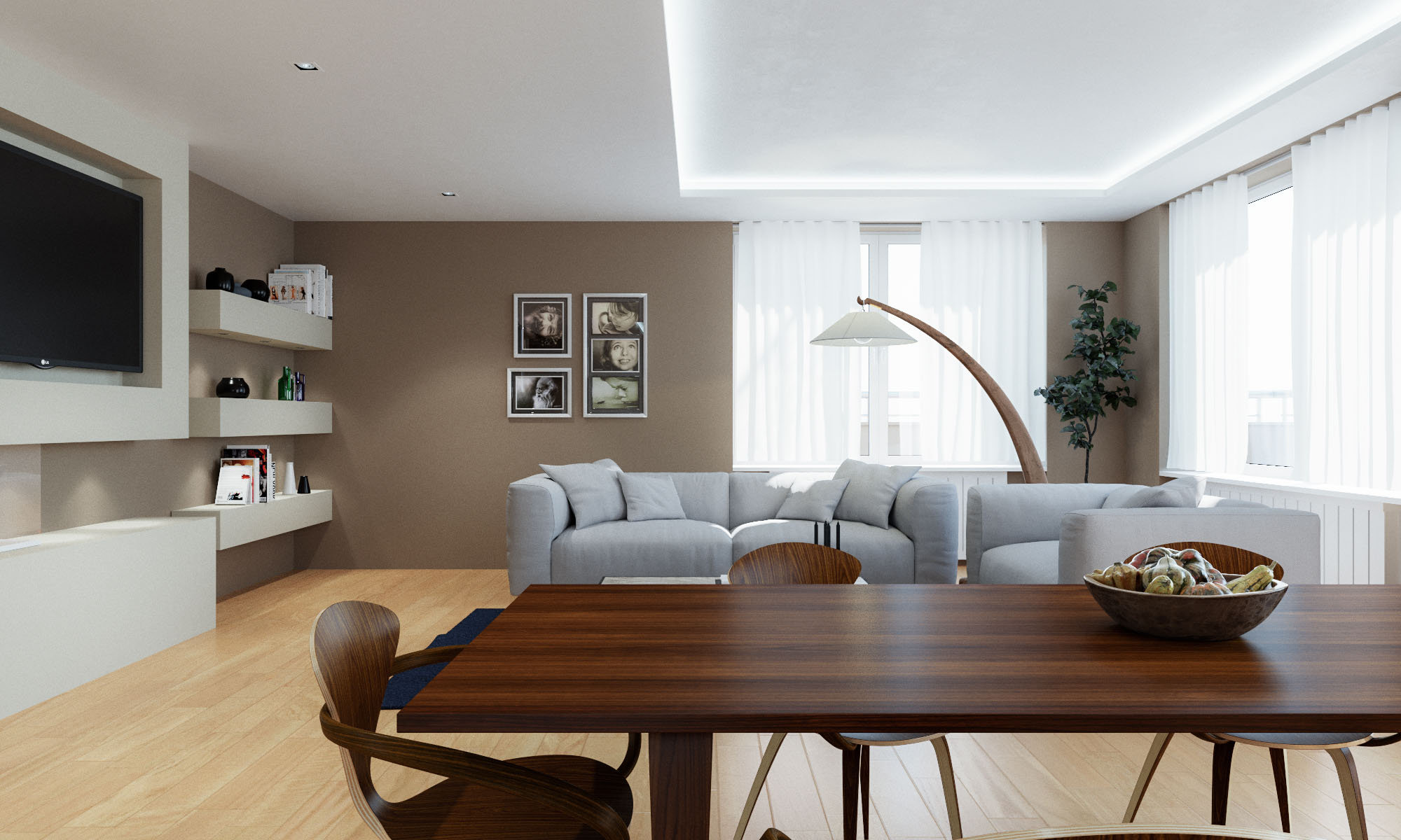 Render 3D arquitectura dúplex Donostia detalle salón comedor 1