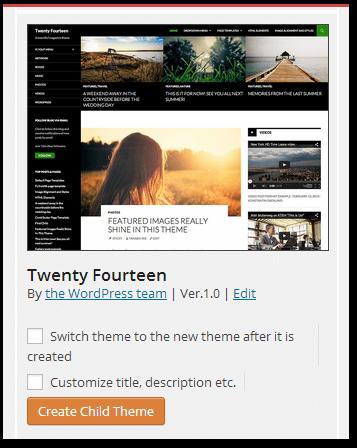 Wordpress Child Theme Creator Plugin