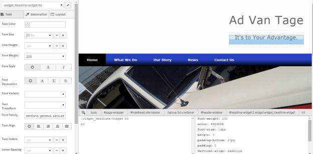 Siteorigin Custom CSS Visual View