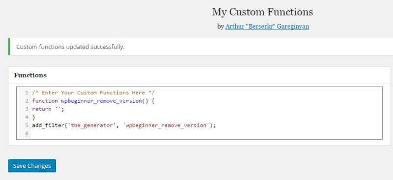 The My Custom Functions WordPress Plugin