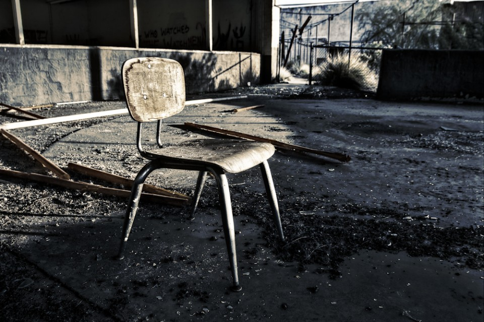 A chair at the black canyon dog track