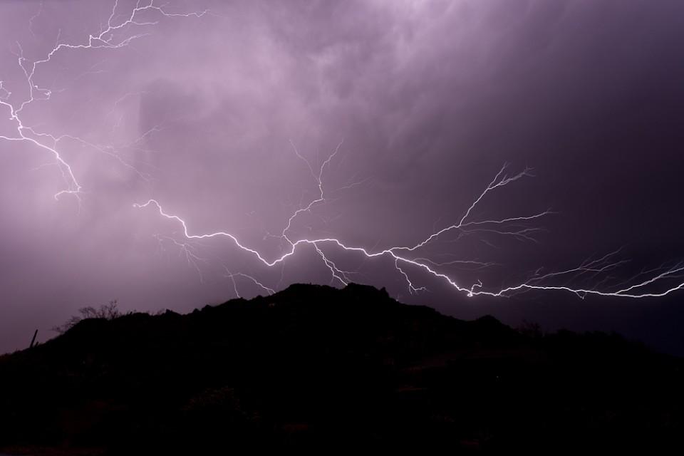 Sideways Lightning in Carefree Arizona Monsoon