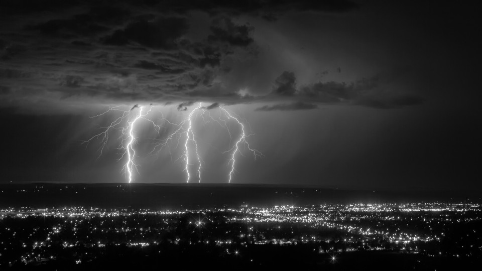 I had to hold my tripod down as I was being blasted by 40-50mph winds up on the ridge above Billings, Montana. A fantastic light show...major thanks to my friend James Langford who is from Montana, for passing on this location to me!