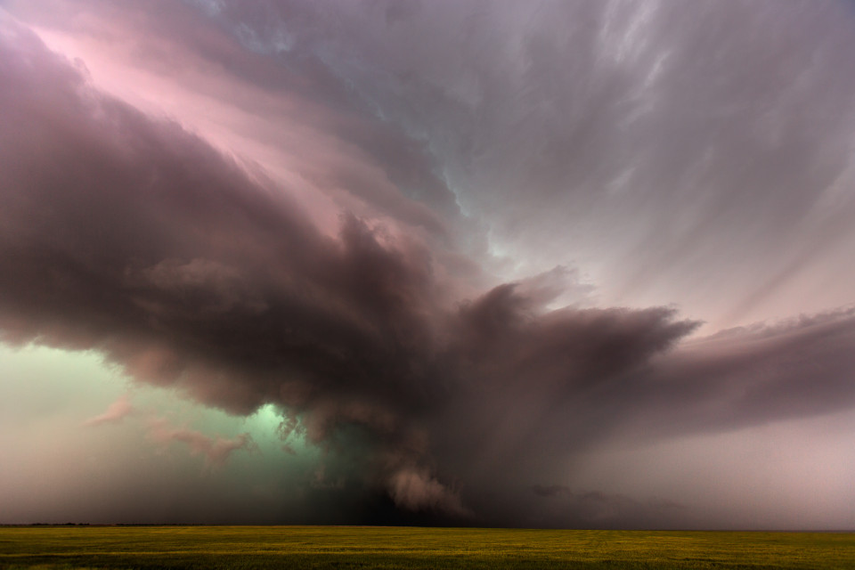 Probably my favorite photo from spending 14 days on the plains in the spring of 2015. This intense, nasty looking supercell was approaching Lamar, Colorado with a tornado warning and huge hail. This was an image I didn't even edit or remember I had taken until well into the summer. What a surprise to stumble upon it.