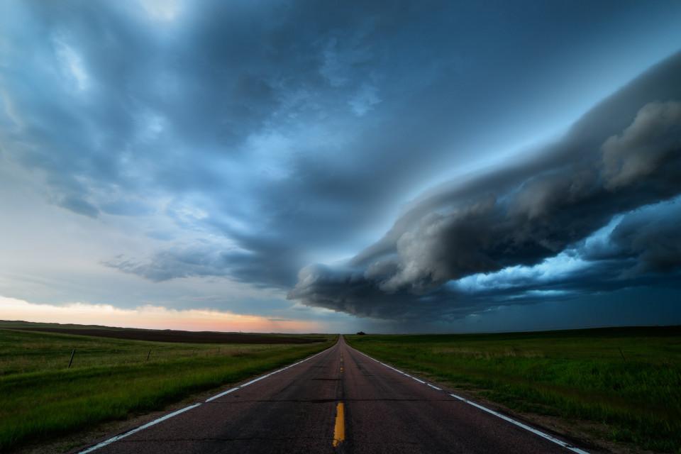 A ragged shelf cloud rolls across western Nebraska on June 2nd, bringing heavy rain behind it.