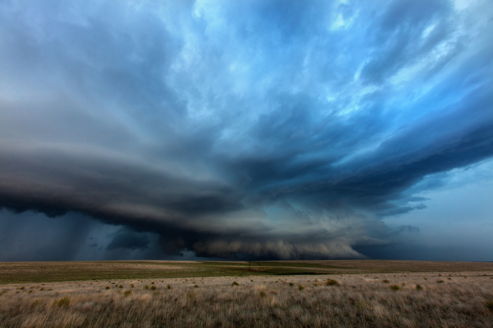 This was one of those storms I was on from the very beginning. I saw the anvil explode into the sky and slowly the storm evolved and as it neared me, the structure was amazing. I love this brush-like wall cloud hanging over the Texas prairie.