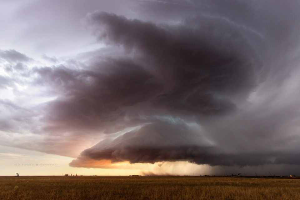 A gorgeous supercell slowly moves over the farmlands of Texas near the town of Ackerly.