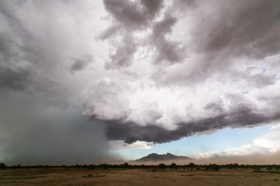 This storm displayed weak supercell structures for a bit as it moved through the town of Picacho, AZ