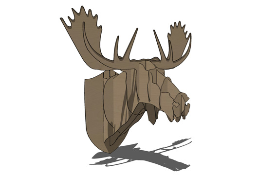 Cardboard Box Moose Head Wall Hanging