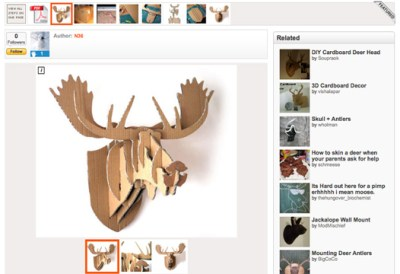 Cardboard Box Moose Wall Hanging by N36