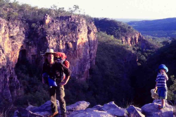 Mike Pole stands on the edge of the Kakadu Escarpment (1991).