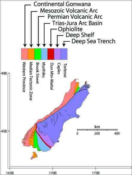 New Zealand's major terranes and a (too) simplistic genetic interpretation. Modified from Bishop et al. (1985).
