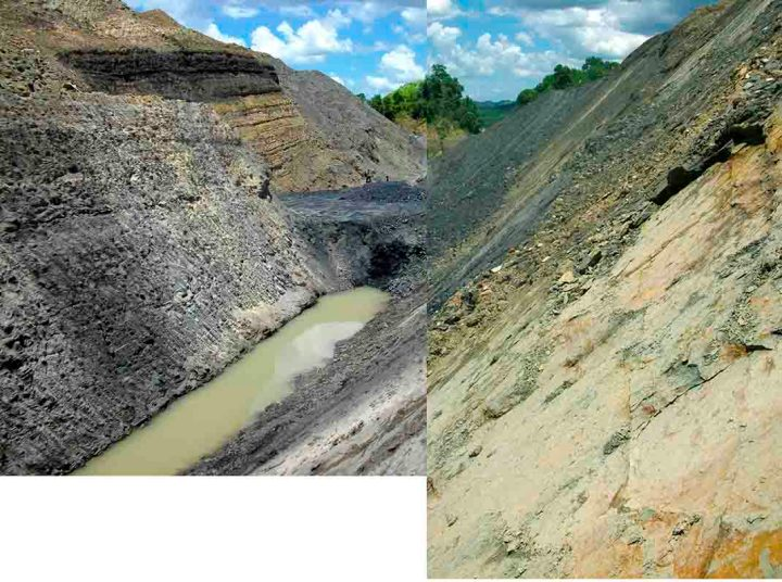 Edging down the low wall of a mine, Kalimantan, Indonesia.