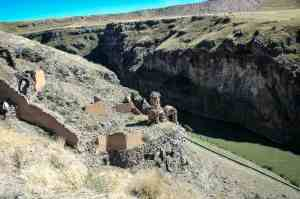 The ruins of Ani above the Akhurian River. The old Turkish border-fence is visible. That's Armenia on the other side.