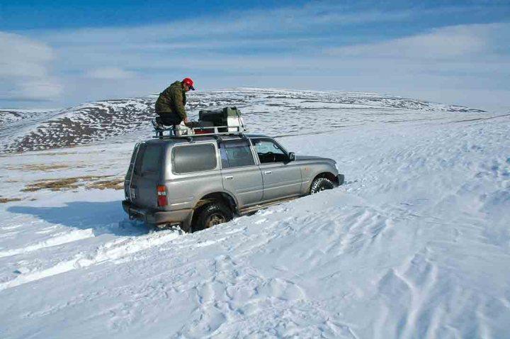 Mongolia - stuck in a snow drift.