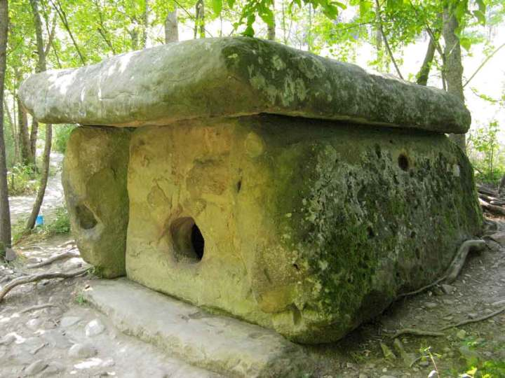 Porthole dolmen at the 'Peasant Farm Enterprise 'Dolmen''. in South Russia.