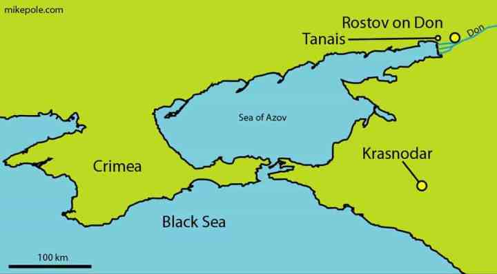 Location map of the ancient Greek city of Tanais in South Russia