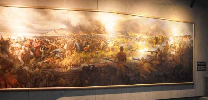 Mural of the riverside massacre, hanging in the Nanjing Massacre Memorial.