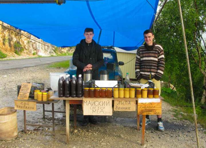 Honey and mead for sale on the Lagonaki Plateau, Adygea, Russia