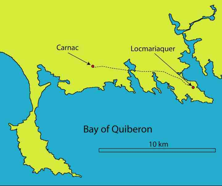 Map of the Bay of Quiberon area or the Morbihan, Brittany, France, showing the route between Carnac and Locmariaquer.
