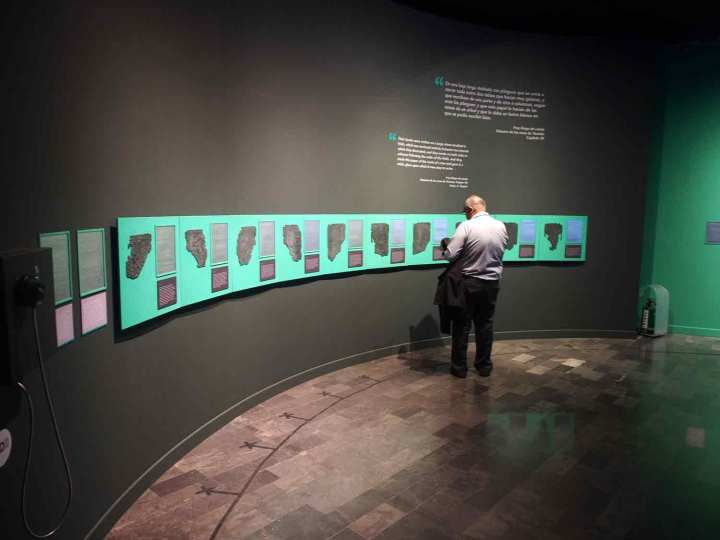A wall of Mexico City's National Museum of Anthropology devoted to displaying The Maya Codex of Mexico for sight-impaired people.
