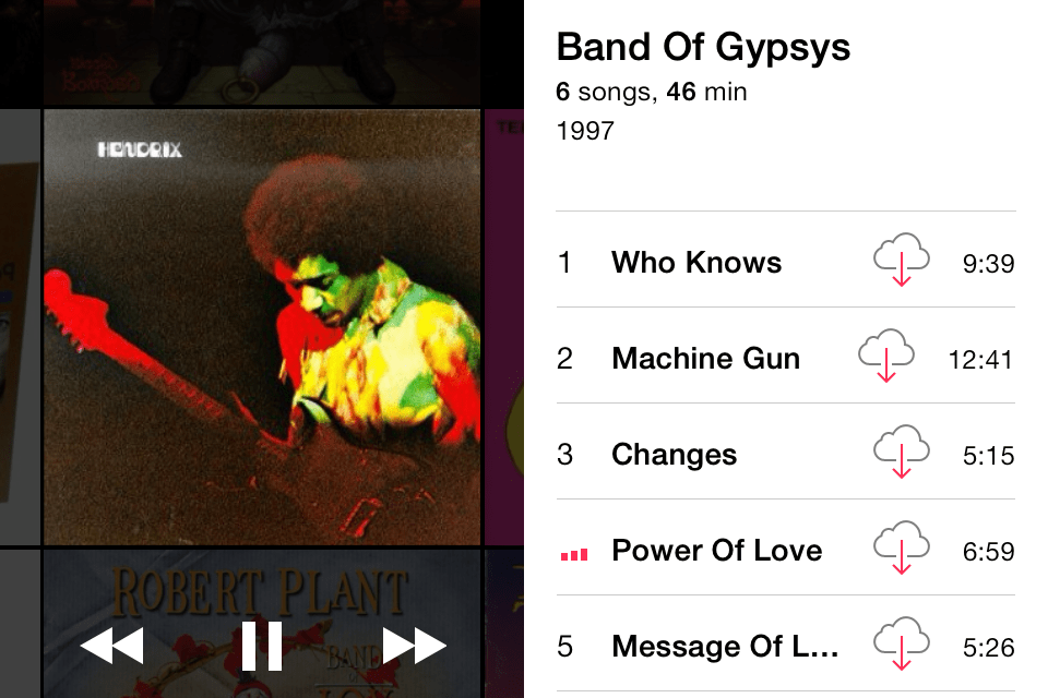 iOS 7 Music Player view