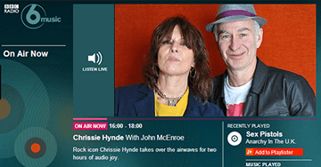 BBC Radio 6 Music with John McEnroe, Chrissie Hynde
