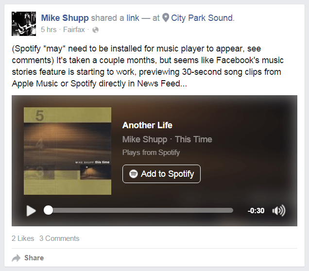 Spotify, Apple Music Previews in Facebook News Feed
