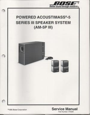 Bose AM5P Series 3 III Acoustimass5P Series 3 III Powered Speaker System Service Manual
