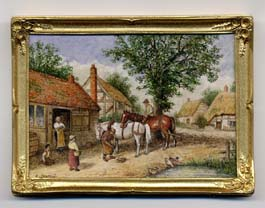 miniature painting 0004 Village scene with Blacksmith and 2 Horses