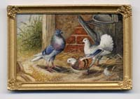Miniature painting 0089 Pigeons and a Watering Can
