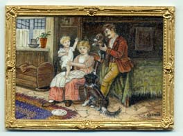 Miniature painting 0107 Domestic scene of a Family and Pets
