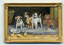 Miniature painting 0111 Puppies and Chicks