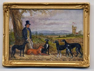 Miniature Painting 0112 Man in Top Hat with Hunting Dogs