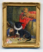 Miniature painting 0115 2 Showman's Dogs, one wearing a ruff