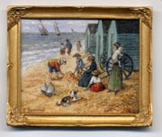 Miniature painting 0116 Beach Scenes with Families and Bathing Huts
