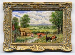 miniature painting 0123 Country Scene with a pair of Horses and a Brick Bridge